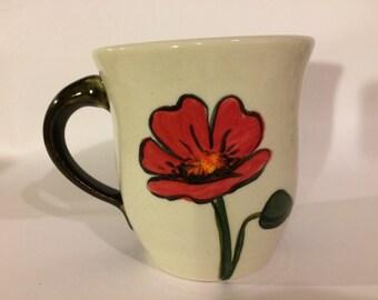 Poppy mug, hand-painted stoneware mug
