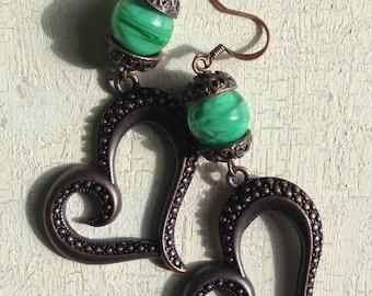 Lampworked earrings - Lampworked beads - Encased beads - Murano Glass - Copper - Hearts