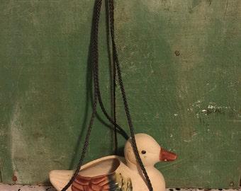 Duck Hanging Plantar; Pottery Made Duck Plantar; Vintage Plant Pot Shaped Like a Duckling; Garden Plantar
