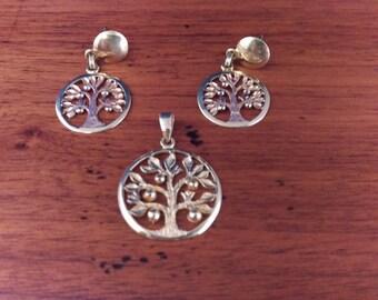 Vintage Gold Tree Pendant & Earrings