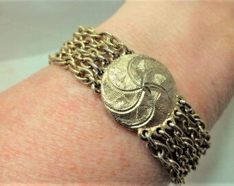 Bracelet Sarah Coventry Popper Fastening Multi-Chain Gold Tone Vintage Metal Costume Jewellery Jewelry Gift Ideas