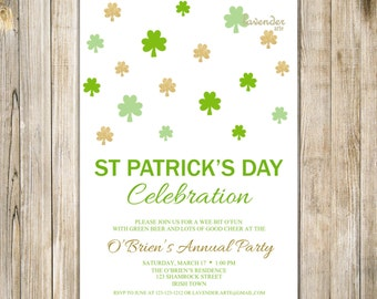 ST PATRICK'S DAY Celebration Invitation, Eat Drink Be Irish Party Invite, Green Saint Patty Day, Digital Printable, Lucky Shamrock Clover