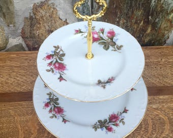 Antique floral cake stand/ cupcake stand/wedding/bridal shower gift/ Mother's Day gift/ cookie stand/ 2 tier stand