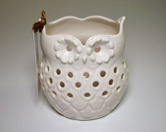 Handmade Owl Porcelain Candle Holder in glossy white glaze - perfect for your favorite votive or tea light candles