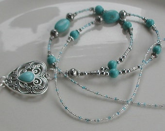 "Turquoise Beads ""Cheyenne Heart"" ID Lanyard Badge Holder Work Accessory"