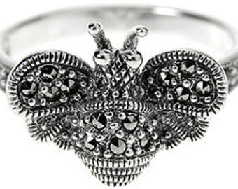 Sterling Silver Marcasite Bumble Bee Ring