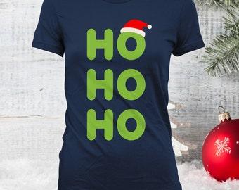 Ho Ho Ho Christmas Shirt- Ugly Christmas Design, Funny Christmas Jumper, Santa Hat Shirt, Christmas Shirt, Family Christmas Shirts CT-910