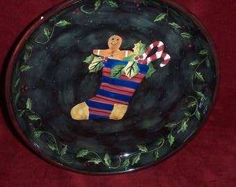 """Christmas Cake Stand """"Primitive Colors Christmas"""" artist Susan Winget by Lang Co."""
