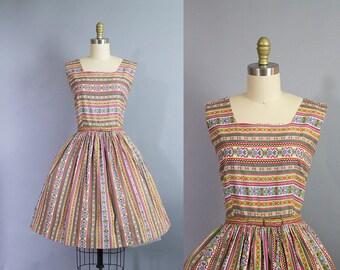1950s novelty print dress/ 50s aztec southwestern cotton sundress/ medium petite