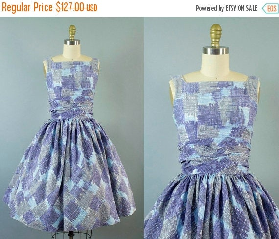 SALE 15% STOREWIDE 1950s gingham plaid sundress/ 50s blue cotton dress/ extra small xs