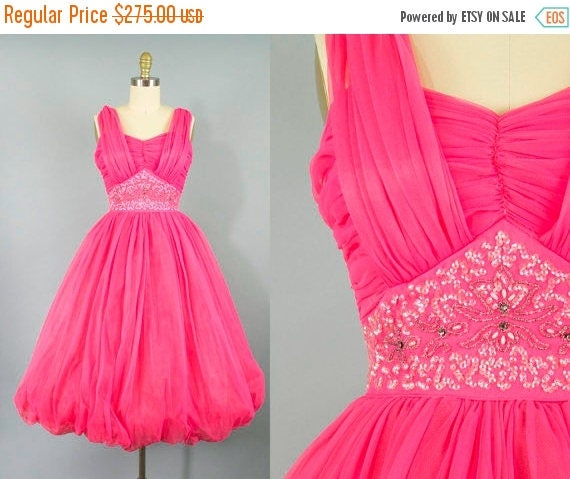 SALE 15% STOREWIDE 1950s hot pink chiffon party dress/ 50s beaded sequin dress/ extra small xs