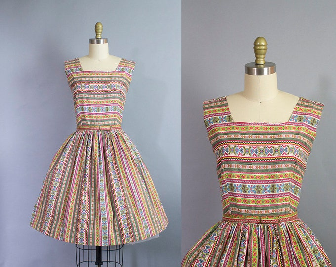 1950s novelty print dress/ 50s aztec southwestern cotton sundress/ medium petite
