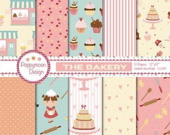Bakery, girl chefs, cakes, digital printable paper pack
