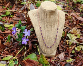 Amethyst and Shiny Copper Necklace | Wire Wrapped Linked Gemstone Rondelle Necklace