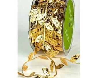 3 Yards GOLD LEAF Lace Trim Leaves Applique Sew On Patch Lace Trim 2.7cm Wide