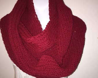 Chunky Knitted Burgundy Women's Infinity Cowl,  Red Long Infinity Scarf, Burgundy Neck Warmer