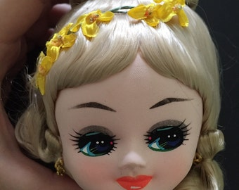BIG vintage Bradley Japan 1970s seventies 70s stocking pose doll parts head face – gold blonde hair and pretty flower sequin accessories!