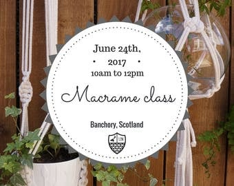 Sat, June 24th 2017 - Macrame Class: Create a Plant Hanger - Banchory, Scotland - 10am to 12pm