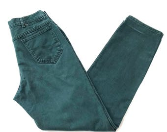 Teal High Waisted Lee Jeans// tapered skinny mom jeans