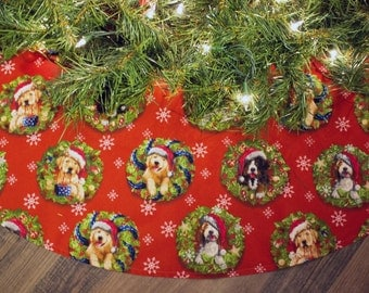 Christmas Tree Skirt-Tree Skirt-Dogs-Puppies-Wreath-Santa Claus-Snowflake Tree Skirt-Snow-Winter-Christmas Tree-Holiday Decor