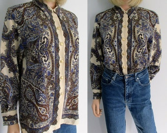 Paisley blouse shirt, french 80s retro vintage, blue brown cream patterned, long sleeve, collared, button up loose top, small medium