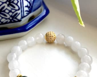 Snow Jade Dark Green Quartz Gold Micro Pave CZ Shamballa  Bracelet, Healing Crystals, Wellness Bracelets, Quartz Jewelry, Birthday Gifts