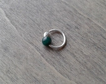 Tiny silver hoops with malachite, 20 gauge piercing earrings, rook earrings, 8 mm, 7mm forward helix eyebrow rings, cartilage jewelry