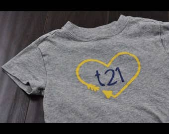 "Down Syndrome Awareness Shirts ~ ADULT SIZES - Unisex Men and Women, Grey T-shirt with Yellow and Navy ""T21"" Logo with Arrow Heart"