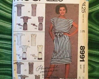 1984 McCall's 8991 dress, top, and skirt pattern, plus size