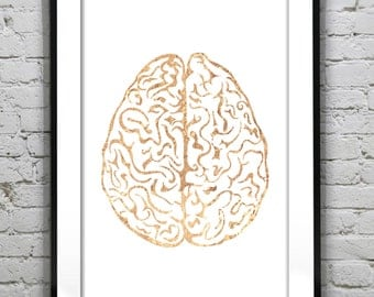 Human Brain ,  Gold Foil Print, Metallic foil art card backed foiled not printed rose, gold, silver,pink,blue, sparkle