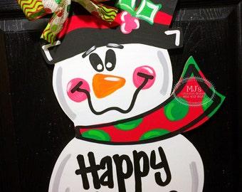 Christmas Door Hanger- Snowman Door Hanger, Winter Decorations, Snowman Door Decor, Winter Decor, Happy Holidays Decor, Xmas Door Decor