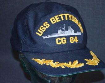 Retro USS GETTYSBURG CG-64 Snapback Baseball Cap Hat (One Size Fits All)