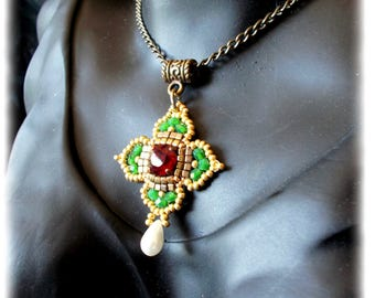 Celtic cross / pendant/antique/medieval/renaissance/red garnet green Emerald