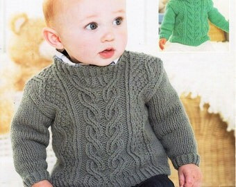 3b08a1deaabd1b baby   childs aran sweaters knitting pattern pdf cable hooded jumper aran  sweater with hood Vintage 16-26