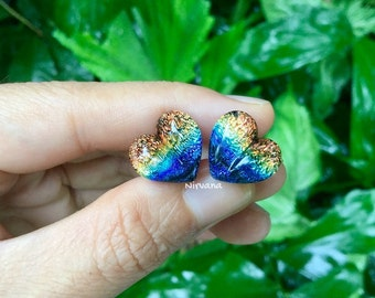 "Rainbow Dichroic Glass Heart Plugs 10g 8g 6g 4g 2g 0G 00g  7/16"" 1/2"" 9/16"" 5/8"" 3/4"" 7/8"" 1""  3 mm 4 mm - 25 mm"