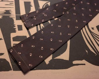 """1960s Neck Tie -Brown Flat Bottom Square End -""""Sir"""" by Botany-Rockabilly Fashion or Classic Mad Men Style"""