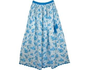 Hydrangea Blue Cotton Long Summer Skirt