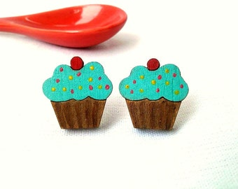 Cupcake Earrings, Miniature Food, Foodie Gift, Food Jewelry, Bold Earrings, Wood Earrings, Present Ideas, Cupcake Gift, Cake Jewelry