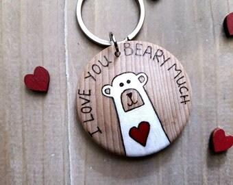 Valentines Gift for Him, Polar Bear Keyring, Bear Keyring, Gift for Boyfriend, Valentine Keyring, Personalised Keychain, Polar Bear Gift