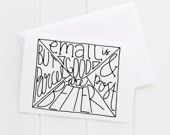 Greetings Hello Long Distance Friend Just Because Hand lettered Card, print, typography gift, present card, mom sister friend dad brother