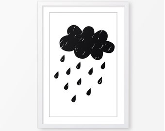 Cloud printable,black and white,monochromatic,instant download,kids bedroom poster,nursery decor,nursery poster,printable nursery,wall art