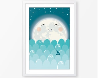Moon kids poster,nursery poster,kids printable, children wall art,baby poster,kids room decor,nursery decor,digital file,instant download