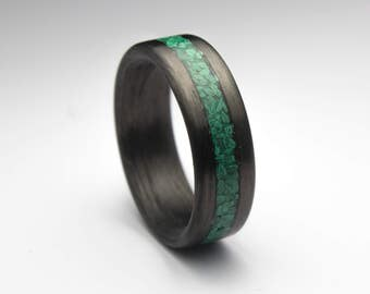 Carbon fiber Ring  with Malachite Inlay