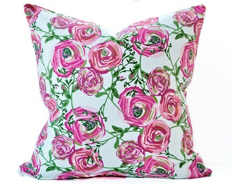 Floral pink pillow cover - Bright pink and white pillow - Fuchsia pillow - Rose, Rosebud pillow - Flower pillow - Pink Pillow