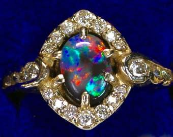 black opal engagement and wedding rings see 12 on videosolid australian lightning ridge - Black Opal Wedding Rings
