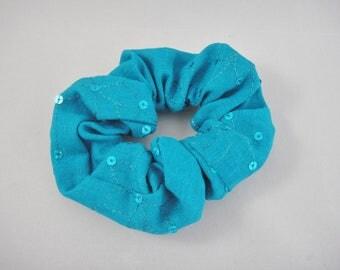 Teal blue scrunchie, Ponytail holder, Hair tie, Turquoise, Blue