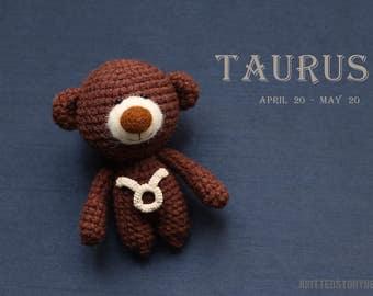 Taurus zodiac teddy bear - crochet zodiac toy, Taurus birthday present, horoscope Taurus gift, Taurus star sign - MADE TO ORDER