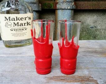 Maker's Mark Bourbon Whisky Shot Glasses Created From Recycled Liquor Bottle Necks