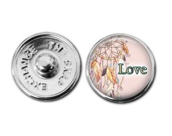 Boho Love snap charm bracelet gingersnaps inspired charm love bracelet love charm love necklace love bracelet