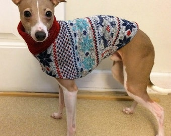 "Italian Greyhound Sweater -  ""Winter Wonderland Sweater"". Italian Greyhound Clothing. Dog Clothes. Dog Clothing. Dog Apparel. Coat for dogs."